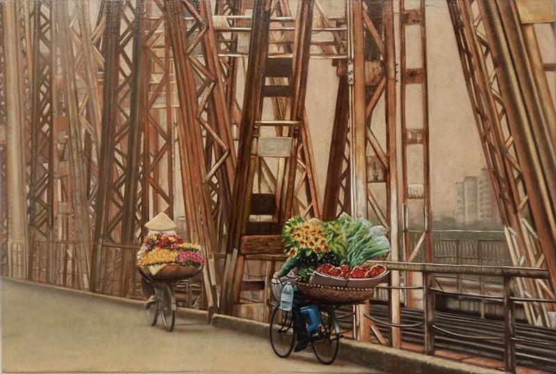 Through Long Bien bridge
