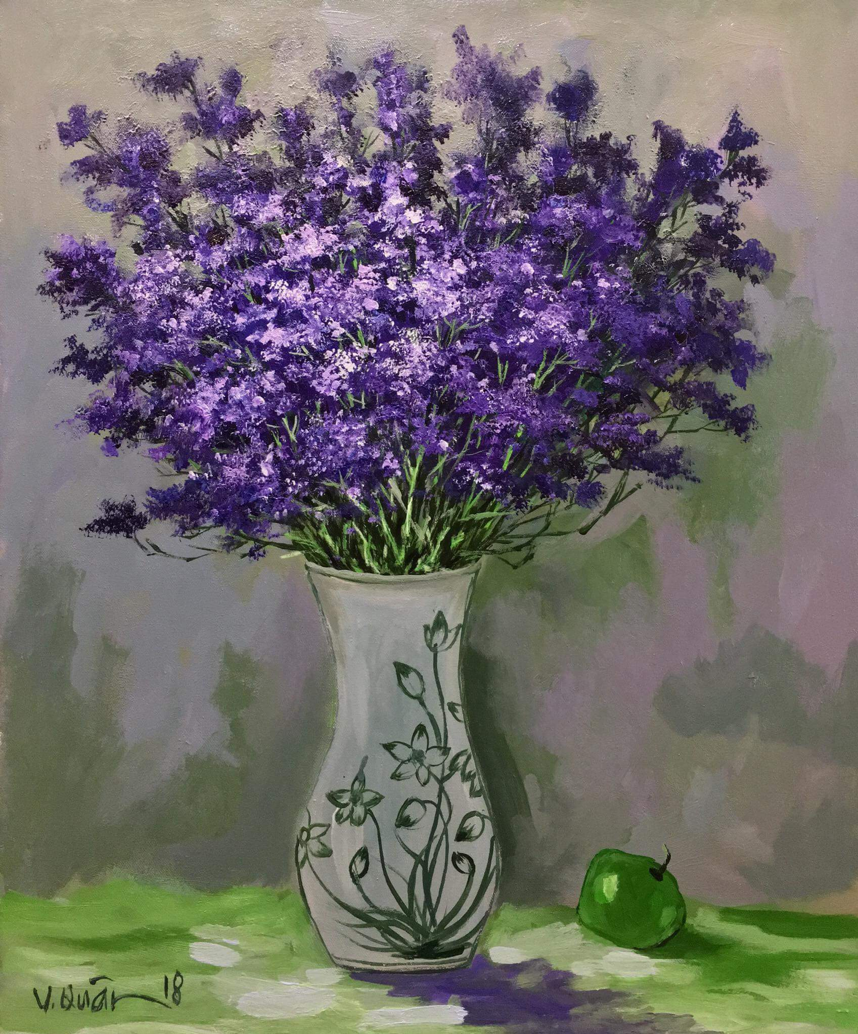 Purple Star Flowers Vietnamese Paintings Orkid Arts