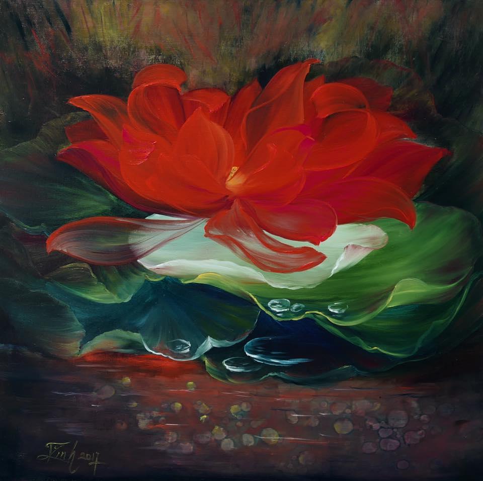 The Red Lotus Vietnamese Paintings Orkid Arts